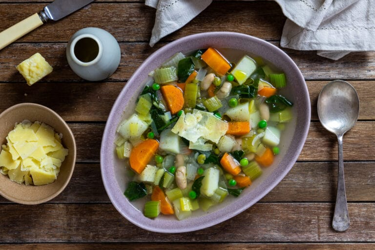 Hearty and Warming Winter Vegetable Soup {Vegetarian + Vegan Option)