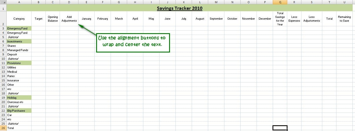 track your savings with excel
