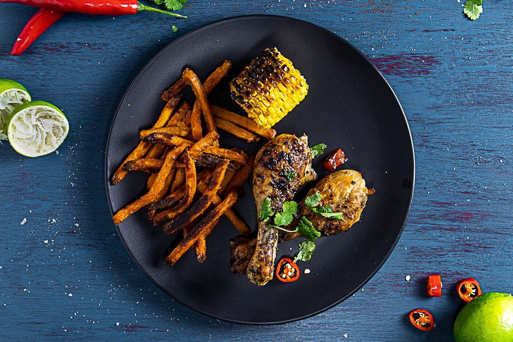 portuguese chicken drumsticks with sweet potato chips
