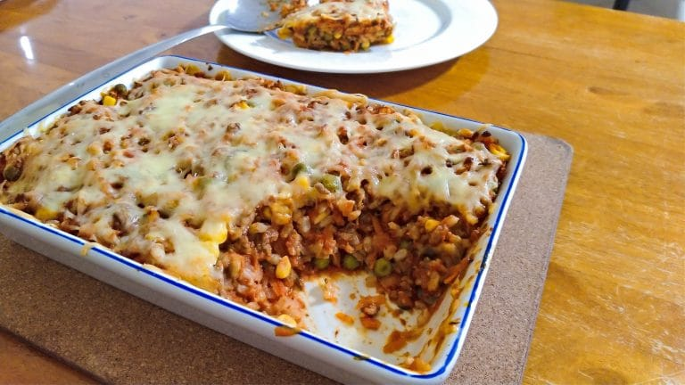 Mince Bake with Vegetables and Brown Rice