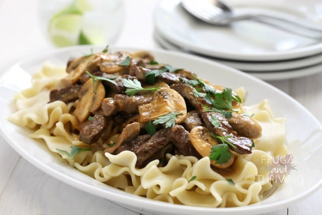 frugal meat meals: traditional beef stroganoff