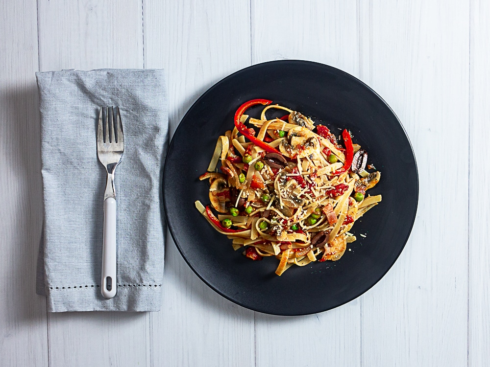 pantry pasta plated
