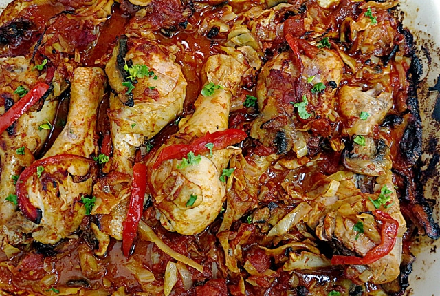 paprika chicken with cabbage and mushrooms