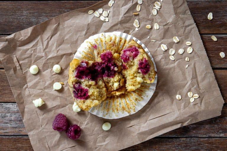 Raspberry Oat White Chocolate Muffins