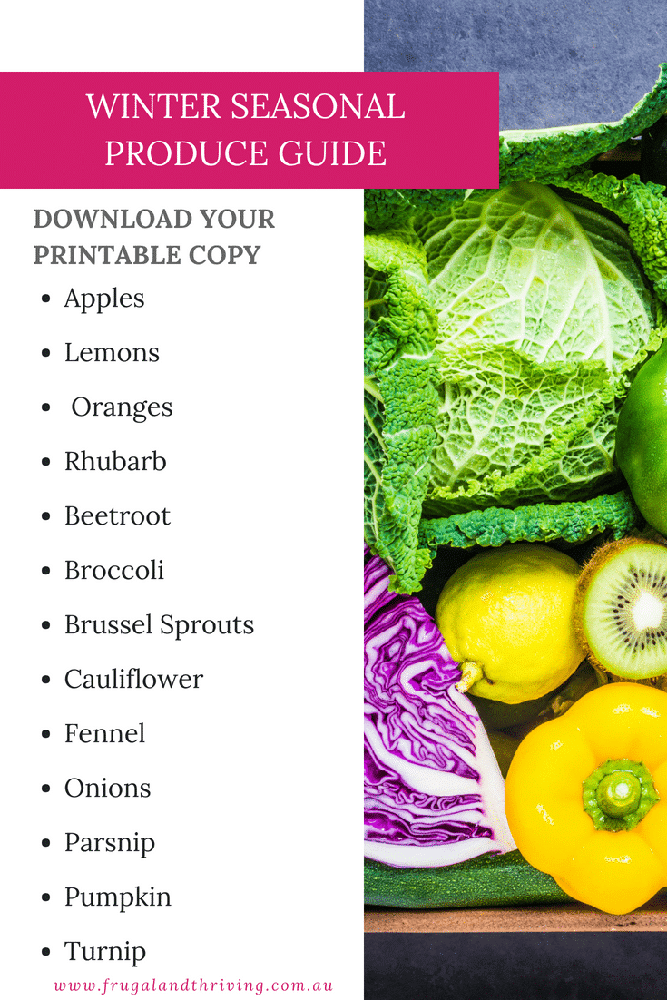 Winter Seasonal Fruit and vegetable guide download and print