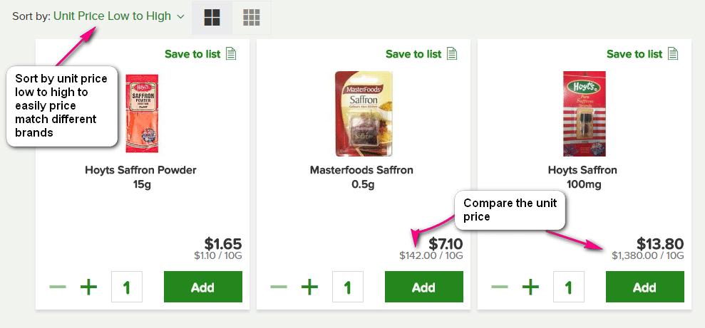 compare unit price online