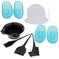 Perfeclan 9Pcs/Set Plastic Hair Dye Bowl Brushes Kit Hair Coloring Brushes Tinting Bowl Highlighting Cap Hook and Ear Covers Combo