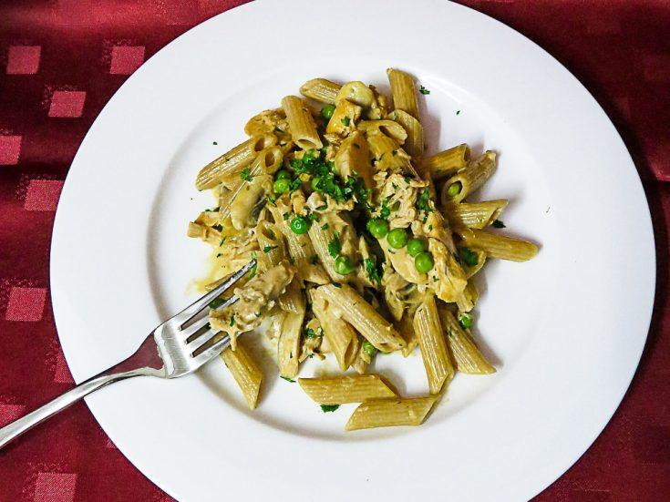 leftover chicken and pea pasta
