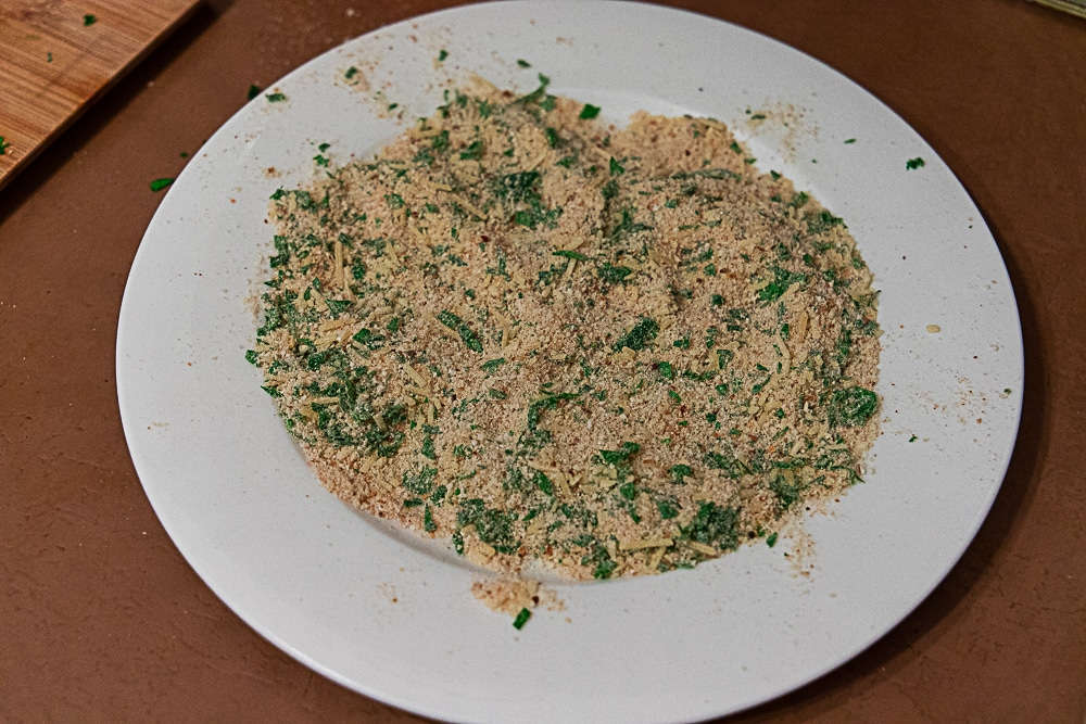 breadcrumb mixture ready to be pressed into fish fillets.