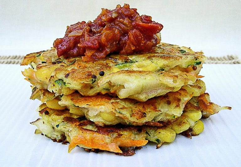 Tasty Vegetable Fritters with Tomato Relish