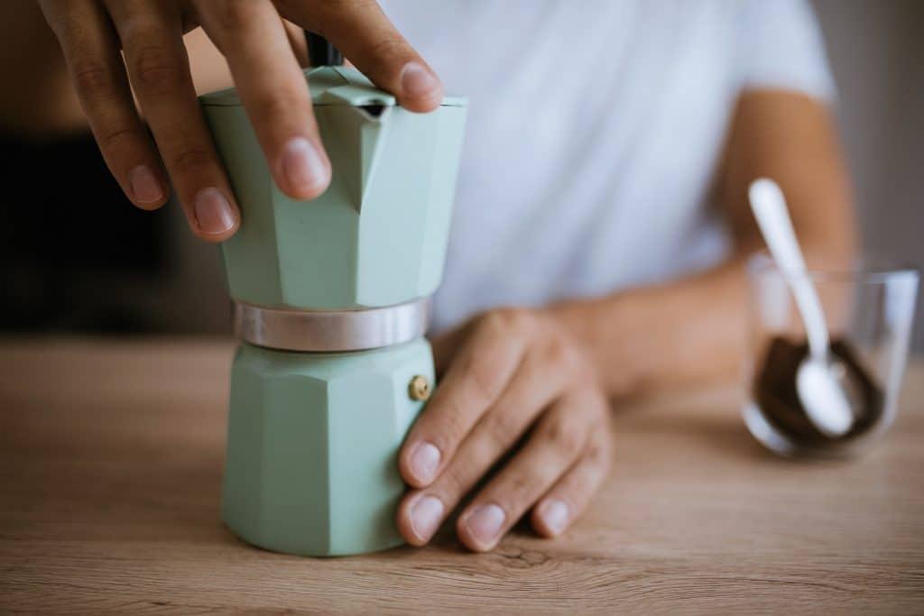 Preparing Coffee In A Moka Pot
