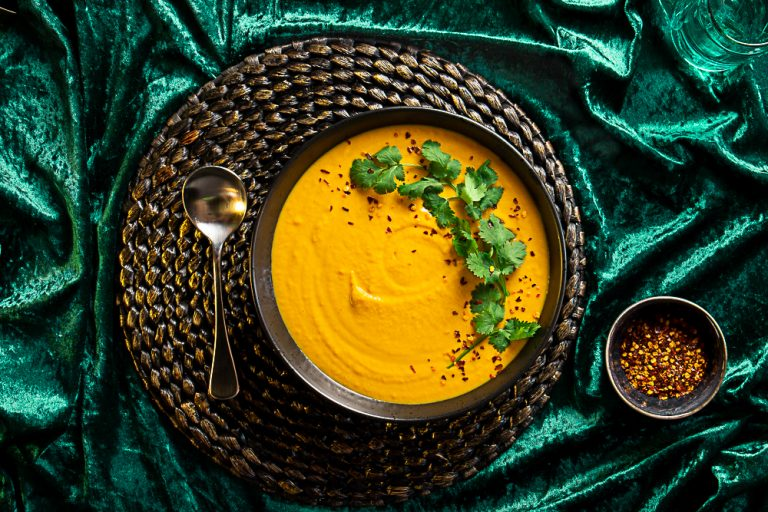 Sweet Potato and Carrot Soup with Cumin and Coconut milk
